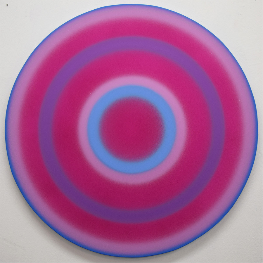 <i>Spin painting (Violet, Purple, Blue)</i>: Vinyl acrylic on canvas, 24 inches, 2018