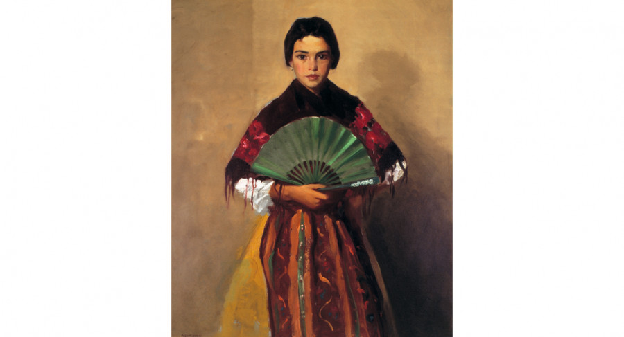 <i>The Green Fan (Girl of Toledo, Spain)</i>, 1912, by Robert Henri (American, 1865 - 1929); oil on canvas; 41 x 33 inches; Museum purchase from the artist; 1914.002.0001