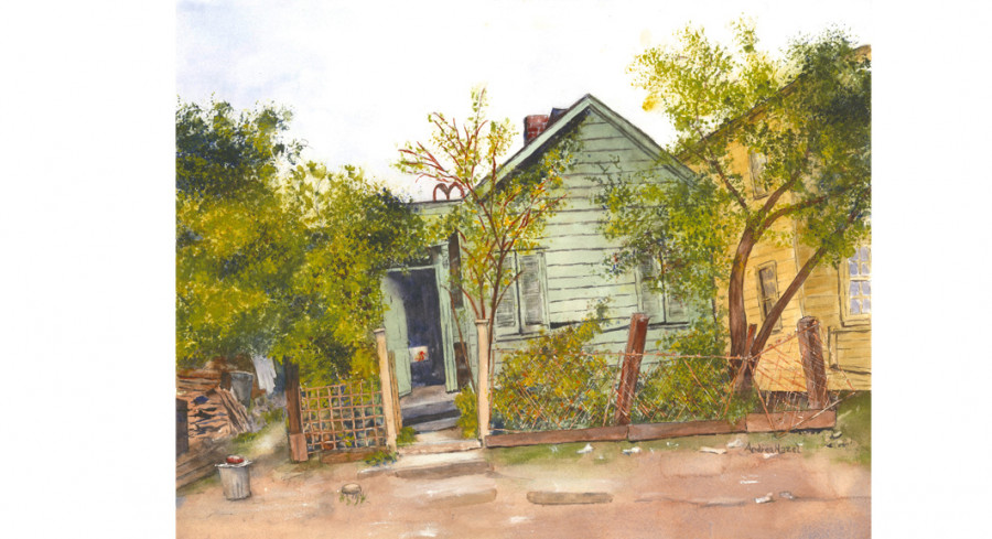 Miss Minnie's Cottage, By Andrea Hazel; Watercolor on paper; 13 x 17 inches