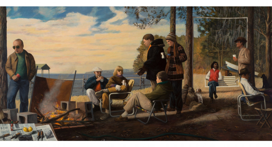 Oyster Roast, 1985-86; By Manning Williams (American, 1939-2012); 71 1/4 x 142 1/2 inches; Collection of the Charleston County Aviation Authority