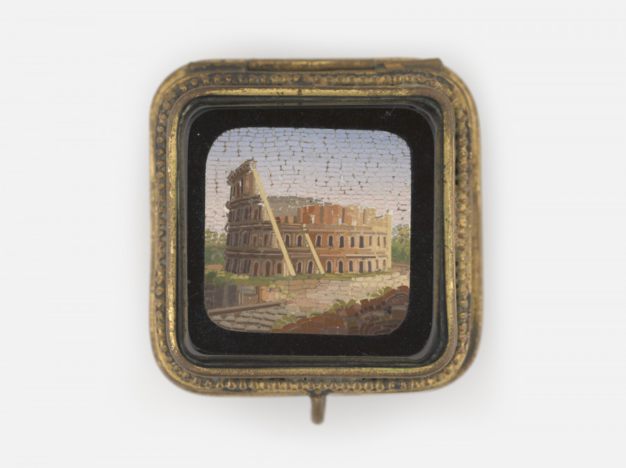 Coliseum, Rome, 19th century; Micromosaic set in metal box detailed with enamel paint; 45 x 45 x 39 mm; Collection of Elizabeth Locke
