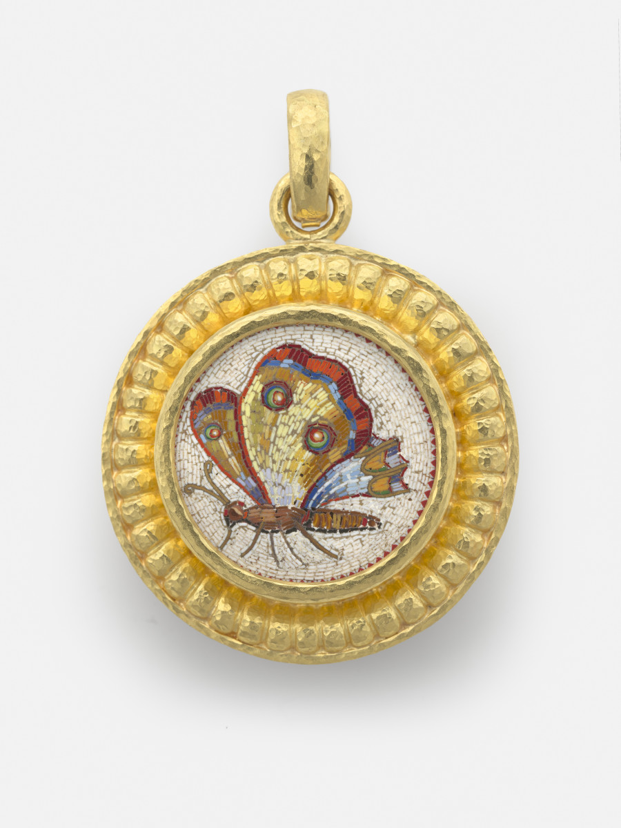Walking Butterfly, 19th century, attributed to Giacomo Raffaelli (Italian, 1753�1836); Micromosaic set in gold as a pendant, with gold bezel, hinged bale; 35 x 35 mm; Collection of Elizabeth Locke