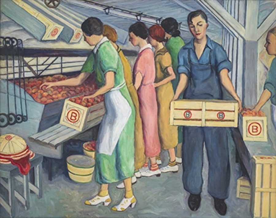 Peach Packing, Spartanburg County, 1938, By Wenonah Day Bell (American, 1890 - 1981); Oil on canvas; 38 x 48 inches; 2010.05.04; The Johnson Collection, Spartanburg, South Carolina