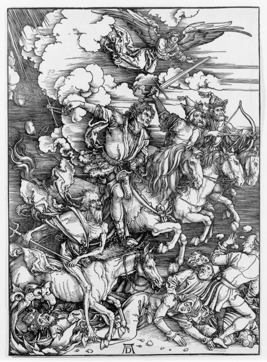 The Four Horsemen of the Apocalypse from The Apocalypse, 1496-98, from the Latin edition of 1511; By Albrecht Durer (German, 1471-1528); Woodcut on laid paper, 15 1/2 x 11 inches; Courtesy of a private collection