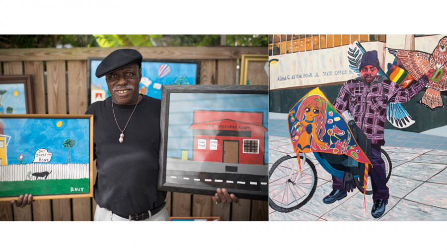 Left: P-Nut; Right: <i>Kevin the Kiteman</i>, 2016, by Jordan Casteel; oil on canvas; 78 x 78 inches; The Studio Museum in Harlem; Museum purchase with funds provided by the Acquisition Committee, 2016.37; ©Jordan Casteel; Courtesy American Federation of Arts