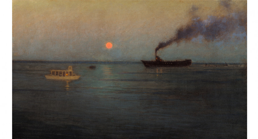 <i>Rosy Moon off Charleston Harbor</i>, ca. 1908-1916, by Birge Harrison (American, 1854-1929); oil on Masonite; 19 5/8 x 31 7/8 inches; Museum purchase; 1921.002.001
