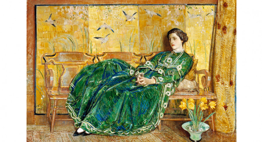 <i>April (The Green Gown)</i>, 1920, by Childe Hassam (American, 1859- 1935); oil on canvas; 56 x 82 1/4 inches; Gift of Mr. and Mrs. Archer Huntington; 1936.009.0001