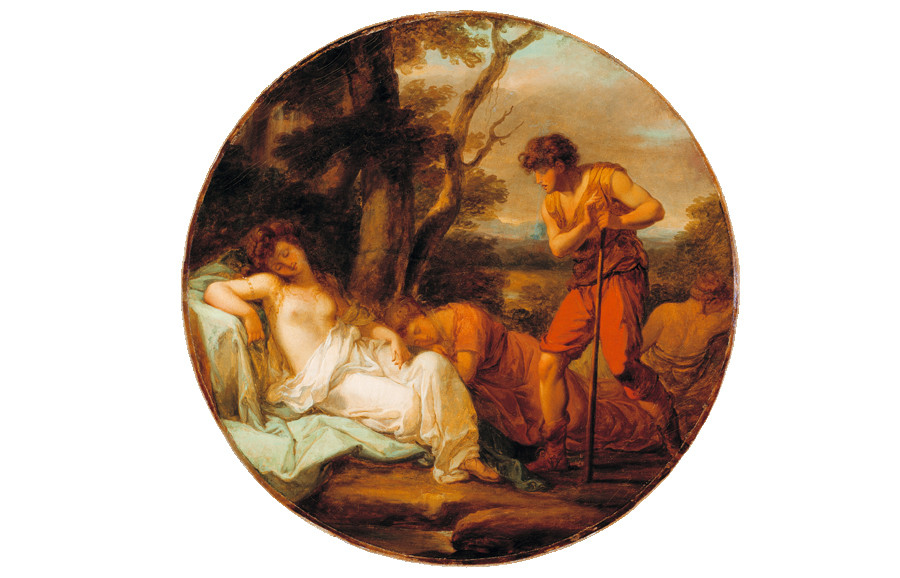 <i>Cymon and Iphigenia</i>, ca. 1780, by Angelica Kauffman (Swiss, 1741-1807); oil on canvas; 32 3/4 x 32 3/4 inches; Gift of Alicia Hopton Middleton; 1937.005.0015