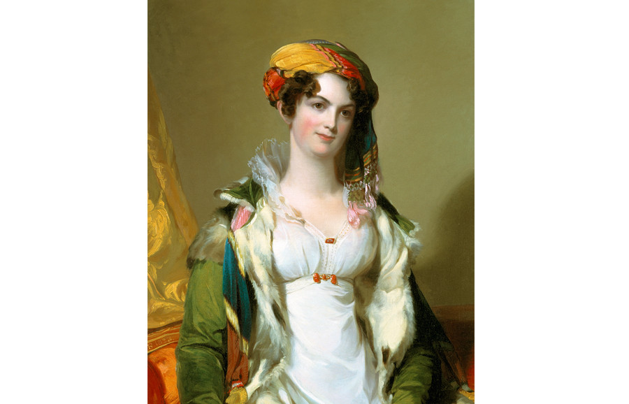 <i>Mrs. Robert Gilmor, Jr. (Sarah Reeve Ladson, ca. 1790-1866)</i>, 1823, by Thomas Sully (American, 1783-1872); oil on canvas; 46 1/2 x 39 inches; Bequest of Mrs. Leila Ladson Jones; 1942.010.0003