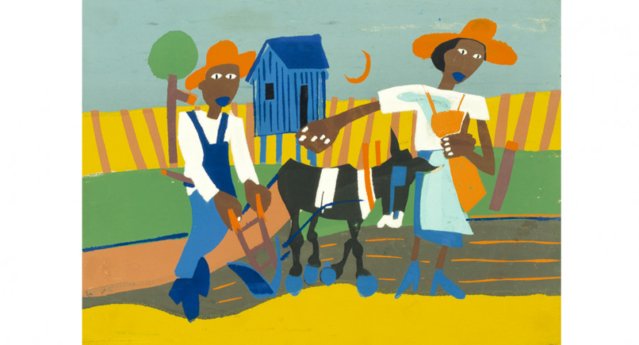<i>Sowing</i>, ca. 1942, by William H. Johnson (American, 1901-1970); screenprint/silkscreen on paper; 11 1/2 x 16 inches; Museum Purchase with funds provided by the Anna Heyward Taylor Fund; 1959.020.0002