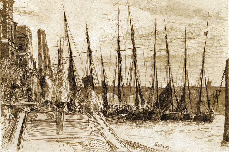 <i>Billingsgate</i>, 1859, by James McNeill Whistler (American, 1834-1903); etching on paper; 5 7/8 x 8 3/4 inches; Gift of Dr. and Mrs. (Caroline) Anton Vreede; 2004.004.0007