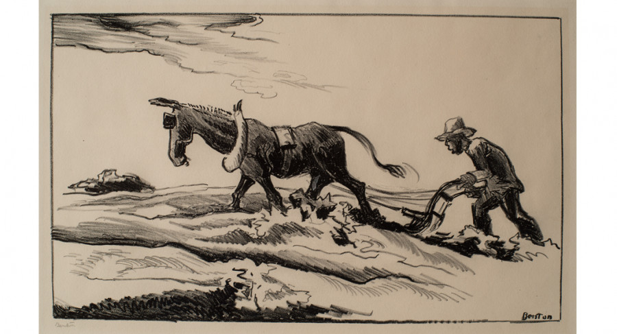 <i>Ploughing It Under</i>, 1934, by Thomas Hart Benton (American, 1889- 1975); lithograph on paper; Museum purchase; 2011.011