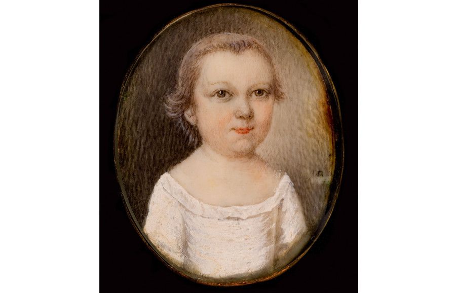 <i>Unidentified sitter</i>, ca. 1745, by Mary Roberts (American, d. 1761); watercolor on ivory; 1 1/8 x 1 inches; Bequest of Mrs. Amelia Josephine Emanuel; 1939.009.0001
