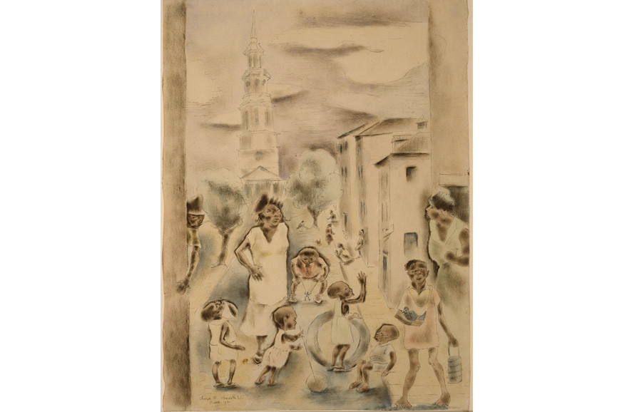 <i>Church Street Amusements</i>, 1930, by George Biddle (American, 1885-1973); watercolor and ink on paper; 15 1/4 x 11 inches; Museum purchase; 1985.027.0001