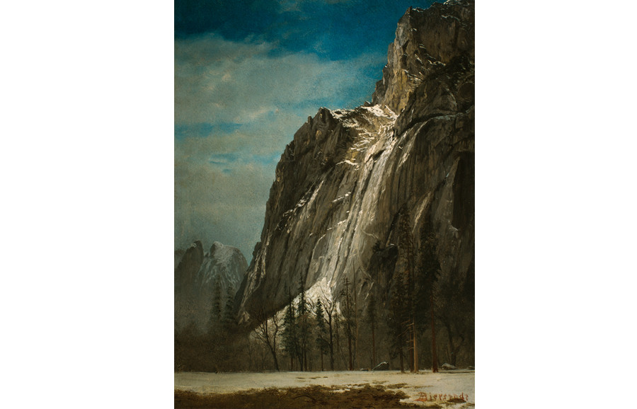 <i>Cathedral Rocks, A View of Yosemite</i>, ca. 1872, by Albert Bierstadt (American, 1830-1902); oil on paper mounted on canvas; 19 x 13 3/4 inches; Courtesy of the Higdon Collection
