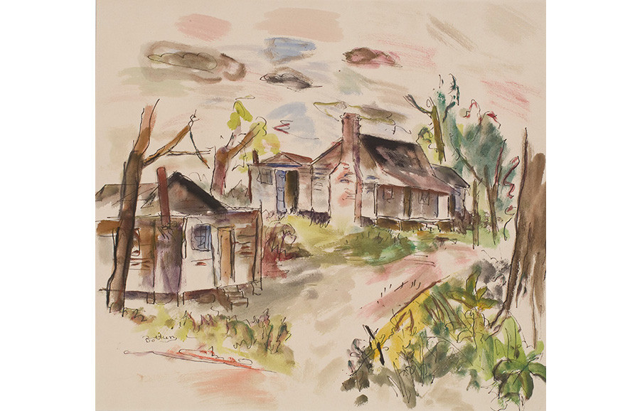 <i>Porgy and Bess with George, Near Folly Island</i>, 1934, by Henry Botkin (American, 1896-1983); watercolor and ink on paper; 16 1/2 x 19 3/8 inches; Museum purchase; 1988.011.0002