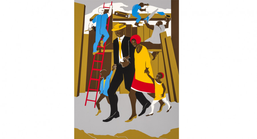 <i>The Builders (Family)</i>, 1974, by Jacob Lawrence (1917-2000); silkscreen on paper; 34 x 25 3/4 inches; Courtesy of The Jacob and Gwendolyn Knight Lawrence Foundation, Seattle &copy; 2015 Artists Rights Society (ARS), New York