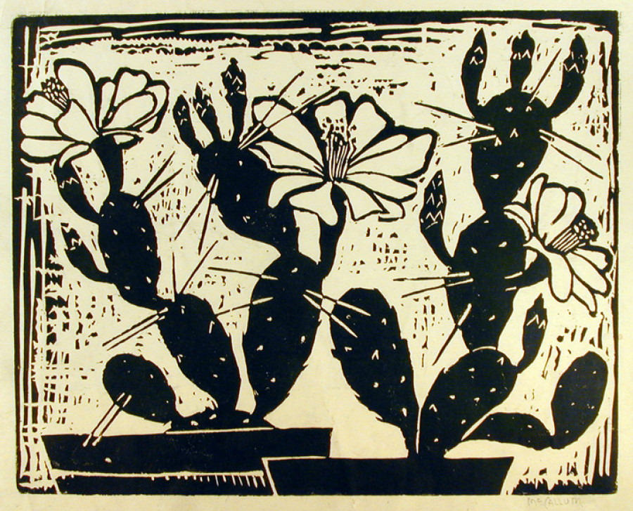 <i>Cactus</i>, By Corrie McCallum (American, 1914&ndash;2009); Woodblock print on paper; 11 x 17 inches; Bequest of Josephine Pinckney