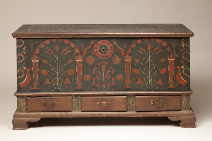 <i>Chest over Drawers</i>, 1803, Unidentified artist, Tulip poplar, brass, iron and paint, Courtesy of the Barbara L. Gordon Collection