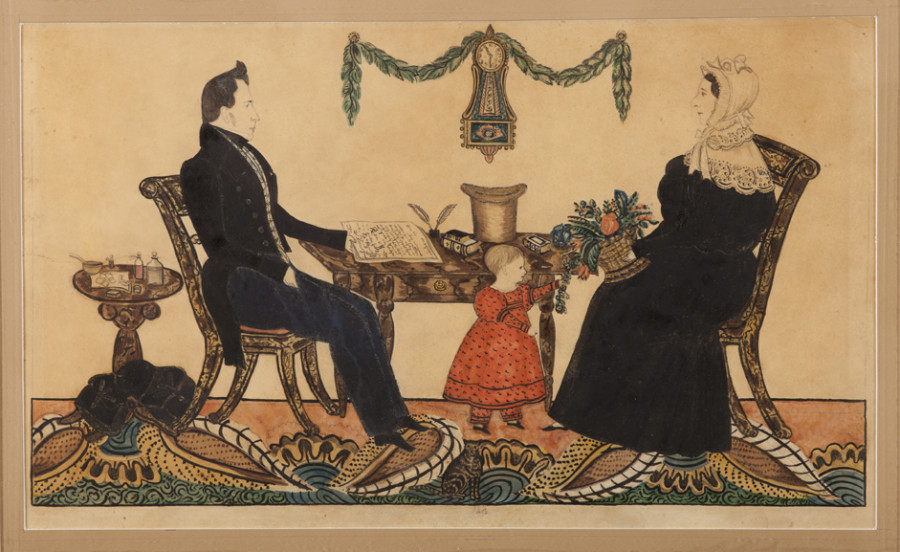 <i>Dr. Nathaniel Grant Family</i>, 1835—1836, Attributed to Joseph H. Davis (American, 1811—1865), Watercolor and graphite on wove paper, Courtesy of the Barbara L. Gordon Collection