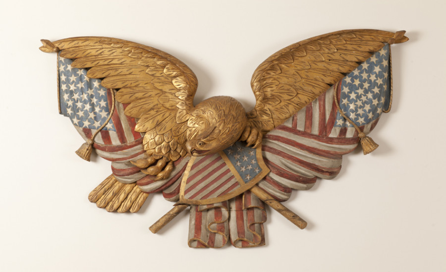 <i>Eagle and Flags Plaque</i>, 1875—1900, Unidentified artist, White pine, paint, and gilt, Courtesy of the Barbara L. Gordon Collection