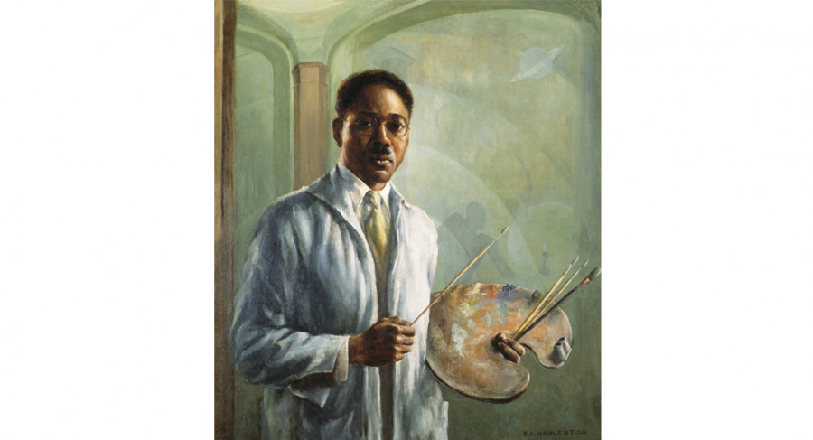 <i>Portrait of Aaron Douglas</i>, 1930, by Edwin Harleston (American, 1882-1931); oil on canvas; 32 1/4 x 28 1/4 inches; Museum Purchase; 1988.003.