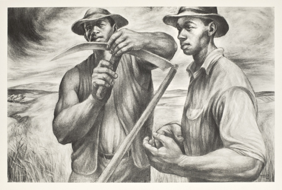 <i>Harvest Talk</i>, 1953, By Charles Wilbert White (American, 1918&ndash;1979); Lithograph; 13 x 18 inches; Gift of Dr. and Mrs. Monnie Singleton