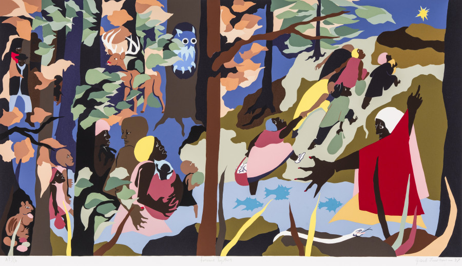 <i>Forward Together</i>, 1997, by Jacob Lawrence (1917-2000); silkscreen on paper; 25 1/2 x 40 1/8 inches; Courtesy of The Jacob and Gwendolyn Knight Lawrence Foundation, Seattle &copy; 2015 Artists Rights Society (ARS), New York