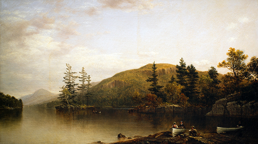 <i>Shelving Rocks, Lake George from Hen and Chickens Island</i>, 1874, by David Johnson (American, 1827-1908); oil on canvas; 16 1/8 x 28 1/2 inches; Courtesy of the Higdon Collection