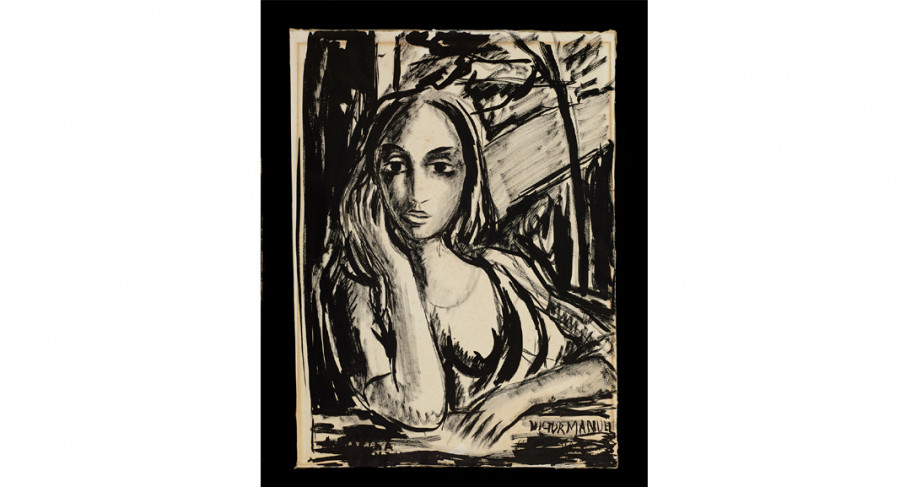 <i>Untitled</i>, ca. 1955, Victor Manuel (Cuban, 1897 - 1969); Ink on paper; 30 1/8 x 24 1/8 inches. Courtesy of the Lowe Art Museum, University of Miami. Gift of Martha Frayde Barraque Collection of Hispanic Art and Culture.