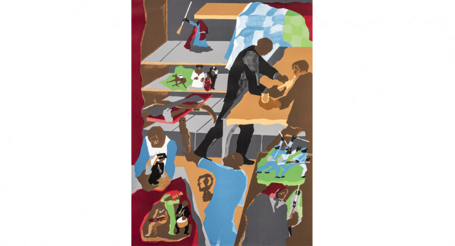 <i>Memorabilia</i>, 1990, by Jacob Lawrence (1917-2000); lithograph on paper, 31 1/4 x 22 7/8 inches; Courtesy of  The Jacob and Gwendolyn Knight Lawrence Foundation, Seattle &copy; 2015 Artists Rights Society (ARS), New York