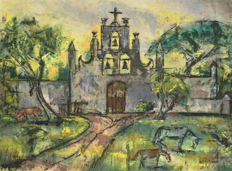 <i>Old Church, Chichen Itza</i>, 1960, By William Halsey (American, 1915&ndash;1999); Casein on Japanese paper; 16 x 28 &frac12; inches; Gift of Mrs. Ashby Farrow.