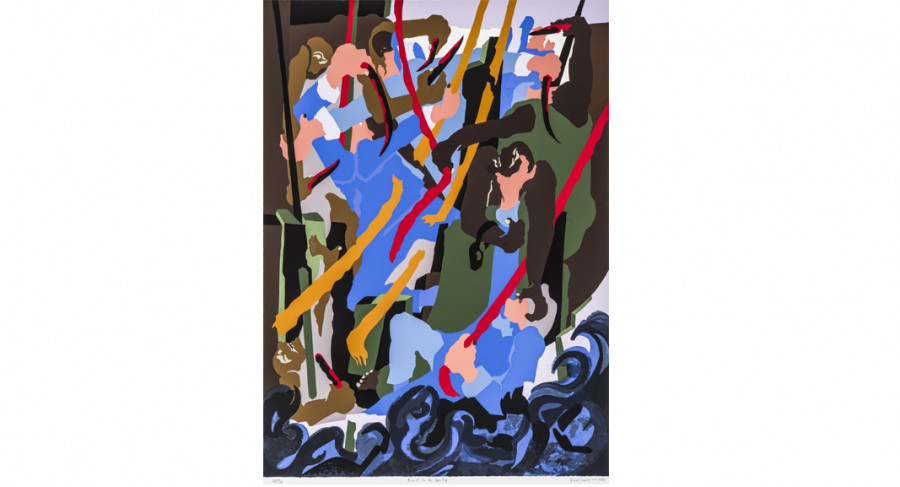<i>Revolt on the Amistad</i>, 1989, by Jacob Lawrence (1917-2000); silkscreen on paper; 40 1/8 x 32 1/8 inches; Courtesy of The Jacob and Gwendolyn Knight Lawrence Foundation, Seattle &copy; 2015 Artists Rights Society (ARS), New York