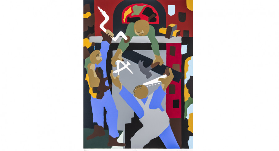 <i>Stained Glass Windows</i>, 2000, by Jacob Lawrence (1917-2000); silkscreen on paper; 32 x 25 inches; Courtesy of The Jacob and Gwendolyn Knight Lawrence Foundation, Seattle &copy; 2015 Artists Rights Society (ARS), New York