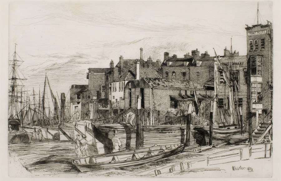 <i>Thames Police</i>, 1859, by James McNeill Whistler (American, 1834-1903); etching on paper; 6 x 8 7/8 inches; Gift of Dr. and Mrs. (Caroline) Anton Vreede; 2004.004.0006