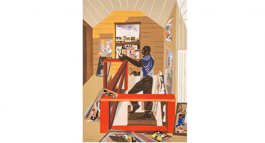 <i>The Studio</i>, 1996, by Jacob Lawrence (1917-2000); lithograph on paper; 30 x 22 1/8 inches; Courtesy of  The Jacob and Gwendolyn Knight Lawrence Foundation, Seattle &copy; 2015 Artists Rights Society (ARS), New York