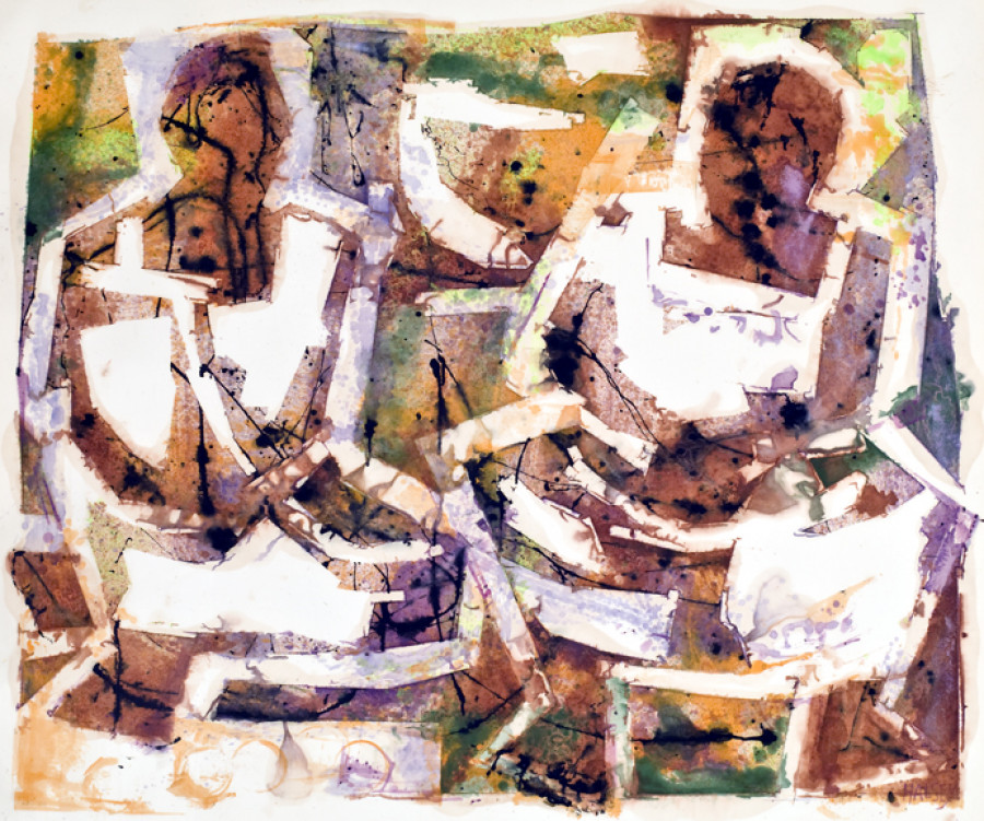 <i>Two Maya Women, Yucatan</i>, 1976, By William Halsey (American, 1915&ndash;1999); Oil on paper; 41 &frac14; x 48 inches; Transfer with The Charleston Museum