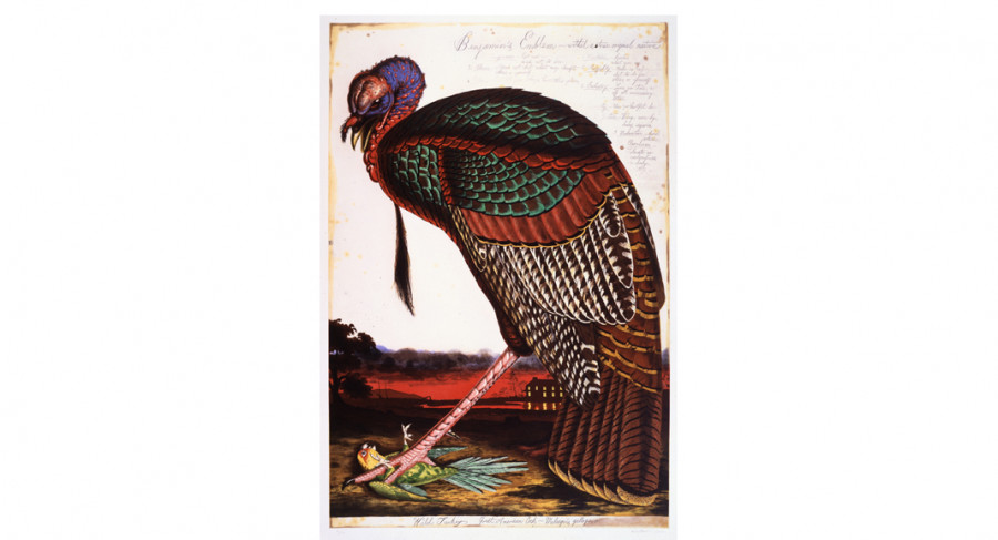 <i>Benjamin's Emblem</i>, 2000, By Walton Ford (American, b. 1960), Color etching, aquatint, spit-bite, and drypoint on paper. On loan courtesy of a private collection.