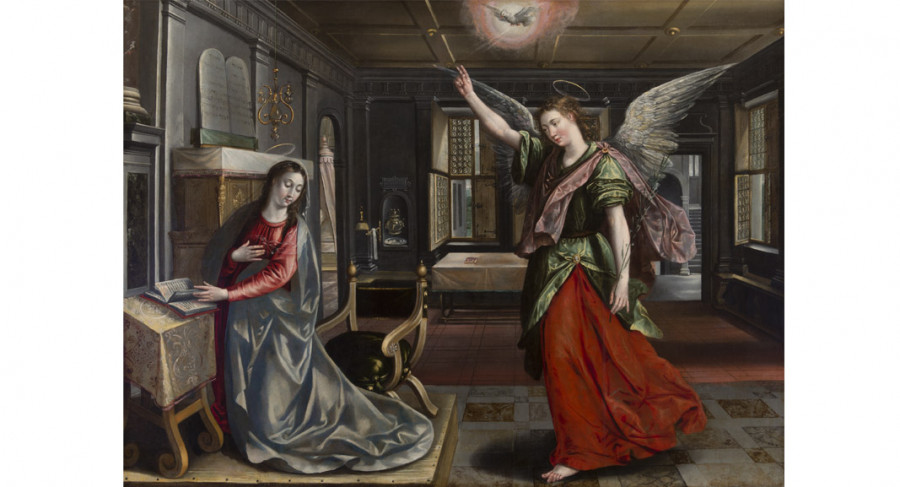 <i>The Annunciation</i>, ca. 1580, By Maerten de Vos (Flemish,1532—1603); Oil on Canvas; Courtesy of a private collection