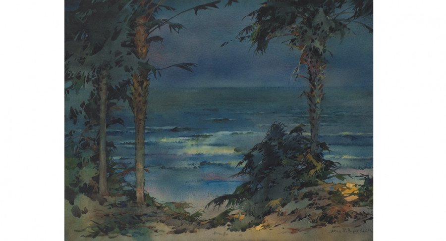 <i>Along the Beach</i>, no date, By Alice Ravenel Huger Smith (American, 1876—1958); Watercolor on paper; 16 1/4 x 20 3/8 inches; 2006.10.03; The Johnson Collection, Spartanburg, SC