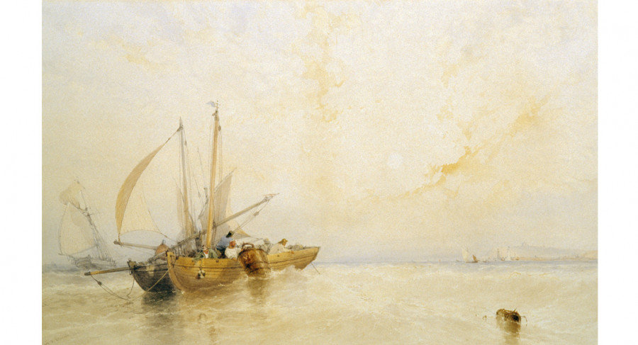 <i>Off Whitby, Morning</i>, 1864, By William Roxley Beverly (British, 1811 - 1889); Watercolor on paper; Gift of John H.D. Wigger; 2004.011.0005