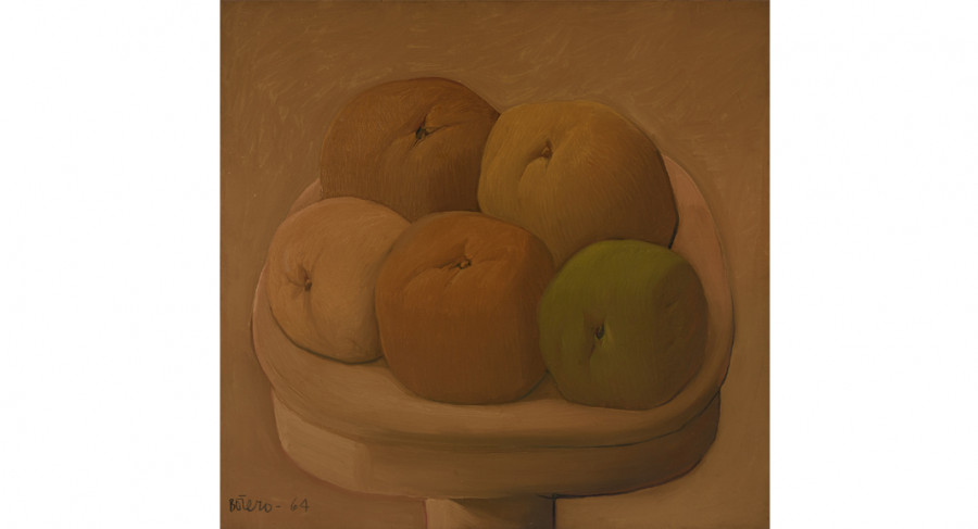 <i>Las Frutas (The Fruits)</i>, 1964, by Fernando Botero (Colombian, b. 1932); Oil on canvas; 50 3/4 x 52 1/8 inches; Courtesy of the Lowe Art Museum, University of Miami. © 1964 Fernando Botero.
