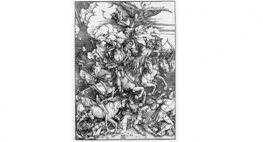 <i>The Four Horsemen of the Apocalypse</i> from <i>The Apocalypse</i>, 1496-98, from the Latin edition of 1511, By Albrecht Dürer (German, 1471-1528); Woodcut on laid paper; Courtesy of private collection