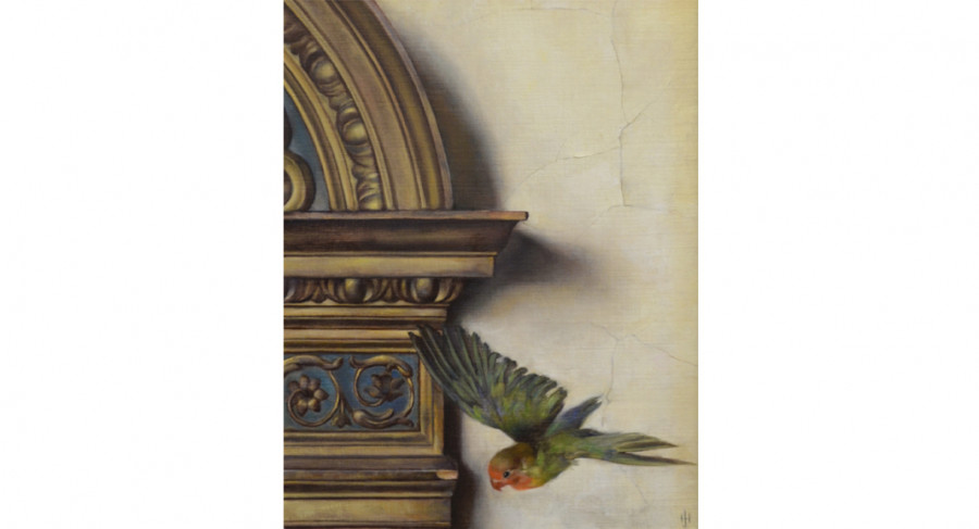 <i>Flight</i>, By Jill Hooper (American, b. 1970); Oil on linen on panel; 17 1/2 x 14 inches; Courtesy of a private collection