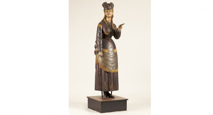 <i>Girl of the Period</i>, 1870—1885, Possibly workshop of Samuel Robb (American, 1851—1928), White pine and paint, Courtesy of the Barbara L. Gordon Collection