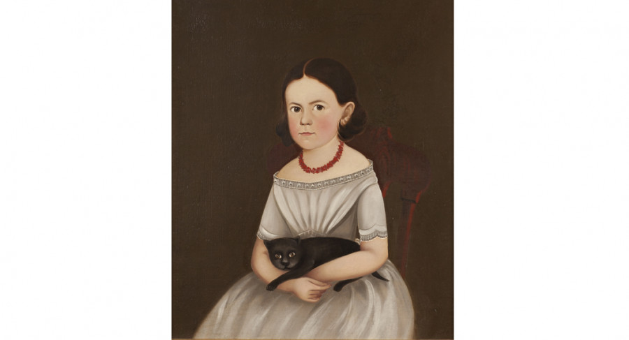 <i>Girl with Cat</i>, 1845—1850, Unidentified artist, Oil on canvas, Courtesy of the Barbara L. Gordon Collection