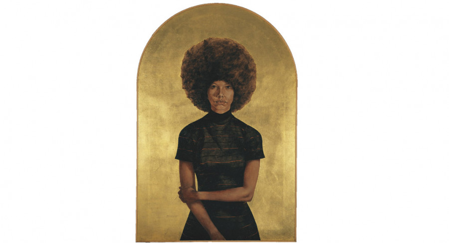 <i>Lawdy Mama</i>, 1969, By Barkley L. Hendricks (American, 1945—2017); Oil and gold leaf on canvas; 53 3/4 x 36 1/4 inches; The Studio Museum in Harlem; ©Estate of Barkley L. Hendricks; Image courtesy of the artist's estate and Jack Shainman Gallery, New York