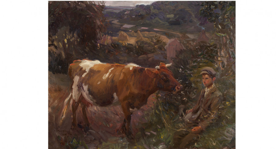 <i>Young Herdsman at Mendham</i>, 1910, By Sir Alfred Munnings (British, 1878—1959); Oil on canvas; 28 1/4 x 36 inches; Image courtesy of Penkhus Collection