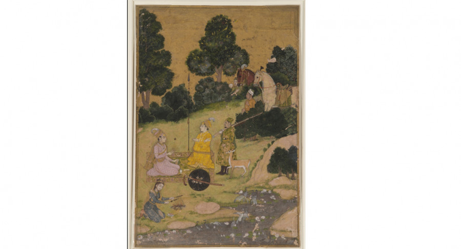 <i>Hunters in a Landscape (probably the lovers Baz Bahadur and Rupmati)</i>, ca. 1725, Attributed to Dalchand; Opaque color and gold on paper; India, Rajasthan, Jodhpur in the former state of Marwar; Courtesy of a private collection