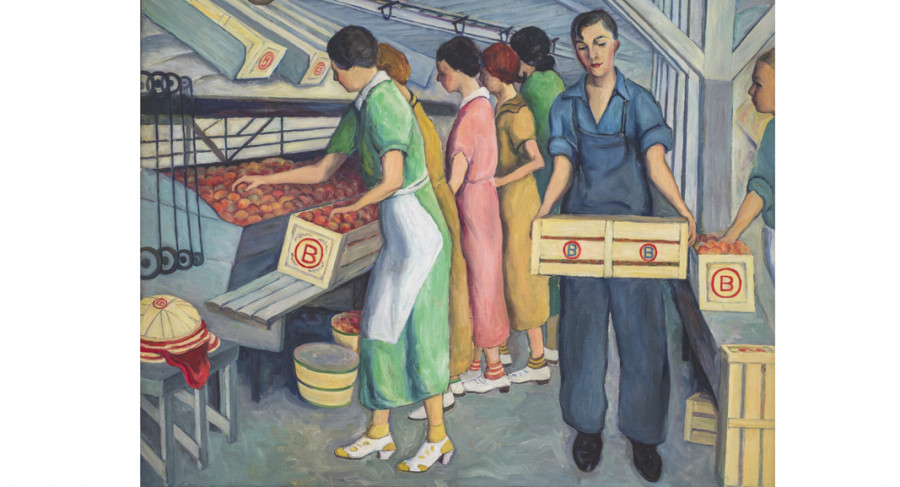 <i>Peach Packing, Spartanburg County</i>, 1938, By Wenonah Day Bell; (American, 1890—1981); Oil on canvas; 38 x 48 inches; 2010.05.04; The Johnson Collection, Spartanburg, SC